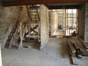 Lower level stud work and stairwell