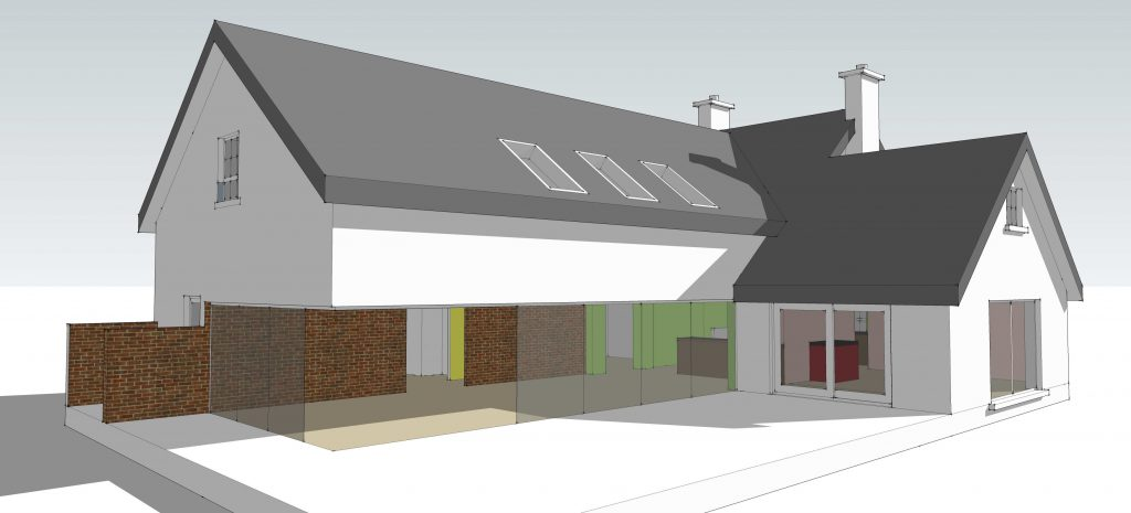 1980s refurbishment - early design of extension to rear